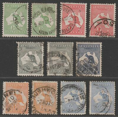 Australia 1913 KGV Roo wmk Wide Crown Selection to 6d Used