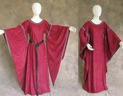 Burgundy Medieval Bell Sleeve Dress Gown SCA Game of Thrones Cosplay Costum L XL