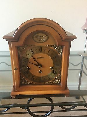 -A Fine German Westminster Chiming Bracket Mantel Clock In Light Wood Finish