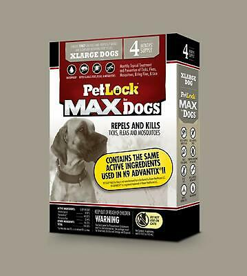 PetLock MAX Flea & Tick Treatment for Extra Large Dogs 55+ pounds 4 Month Supply