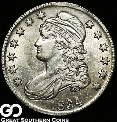 1834 Capped Bust Half Dollar, Popular Early Silver Half Series, Choice AU