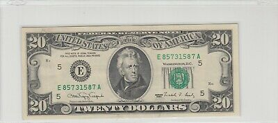 1990 (E) $20 Twenty Dollar Bill Federal Reserve Note Richmond Old Currency Crisp
