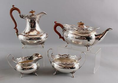 4pc Antique 1920s, Alexander Clark Exceptional English Sterling Silver Teaset