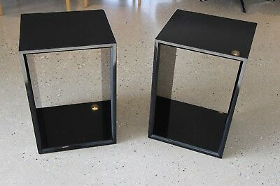 Pair modern Piano black box shape lamp tables bookcase boxes bedside table H60cm