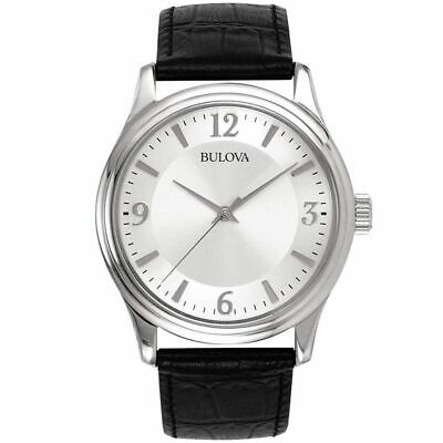 Bulova Men's $135 Silver Stainless Steel Watch, Black Leather Strap 96A28
