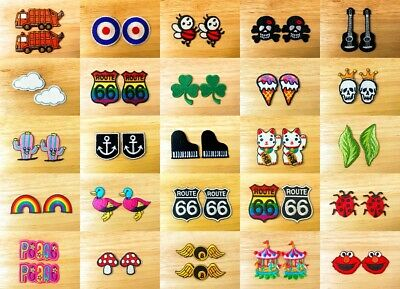 Awesome Set 2 Mini Cute Cartoon Sew IRON-ON PATCH Embroidered Applique Store(1)