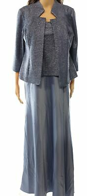 Alex Evenings NEW Blue Women's 10P Petite Ball Gown Chiffon Dress Set $219 #926