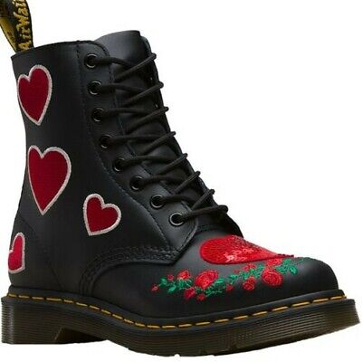Ladies Dr Martens 1460 Pascal Hearts Black Softy T Leather 8 Eyelet Boots