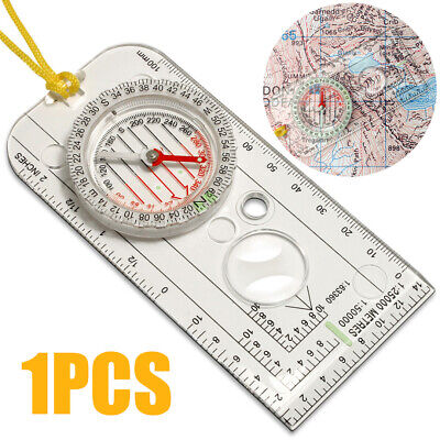 Magnifying Orienteering Compass Map Scales Ruler Navigation Map Scouts Army Tool