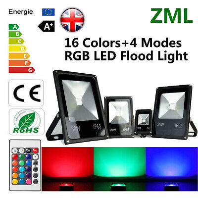 10W 20W 30W 50W RGB LED Floodlight Security Lamp Landscape Indoor Outdoor UK