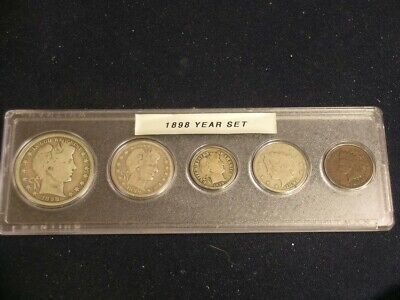 1898 Vintage Circulated Year Set - Nice 5-Coin Set