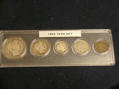 1905 Vintage Circulated Year Set - Nice 5-Coin Set