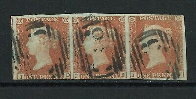 Lot:29769  GB QV   SG8 1d red brown imperf strip of 3