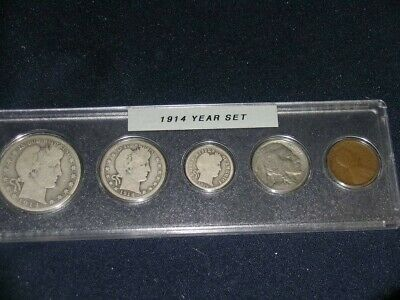 1914 Vintage Circulated Year Set - Nice 5-Coin Set