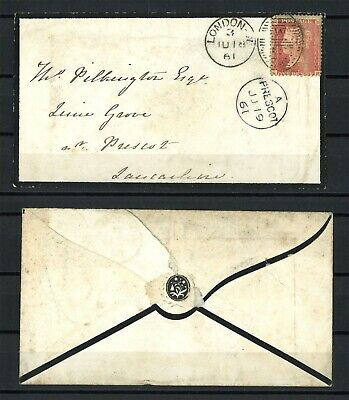 Lot:29656  GB QV mourning cover  1d red penny stars  London 1 Ju 1861