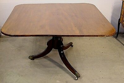 Big rare antique Georgian Regency dining table 1820 original bronze feet seats 8