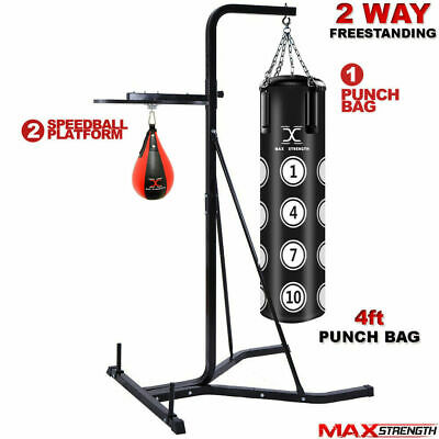 MAXSTRENGTH 2 Way Stand Free Standing Boxing 4ft Punching Hanging Bag Speedball