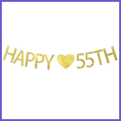 Happy 55Th Birthday Banner Wedding Anniversary Party Decorations Sign
