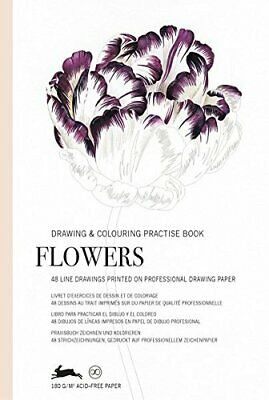 Drawing & Colouring Practise Books - Flowers - 48 sheets 168x250mm