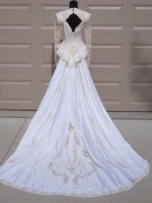 VTg Marys Wedding Dress Train Lace Sequins Pearls Womans 10 Long Sleeve Silk
