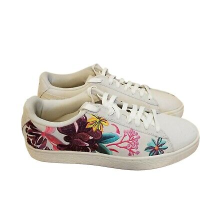 afbc8351e004 PUMA Suede Hyper Embroidered Orchids Floral Sneakers 368137-01 Women s 9.5