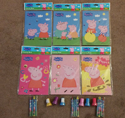 Lot Of Peppa Pig Coloring Books Crayons Stamps Birthday Party Favors Bag Fillers