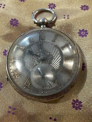 Antique 0.925 Sterling Silver English Fusee Lever London Pocket Watch 4 Repair