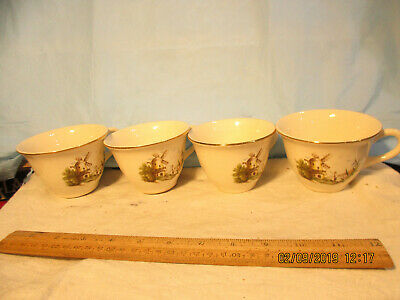 4 Camwood Ivory-Universal Cambridge Windmill Pattern Cups Great Condition