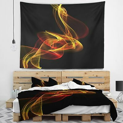 Designart 'Red Yellow Twisted Waves Fractal' Abstract Wall Tapestry