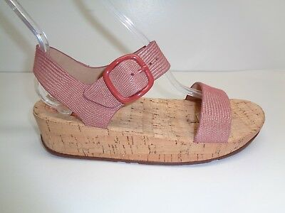 077e1db2f FitFlop Size 11 BON Spice Lizard Print Suede Cork Wedge Sandals New Womens  Shoes