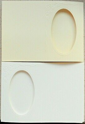 5 Card Blanks with Oval Aperture 152 x 105mm Cream/White Embossed & Textured NEW