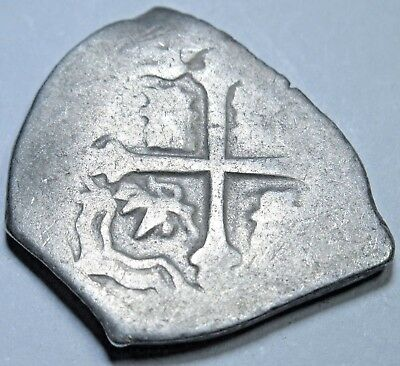1600s Spanish Silver 1 Reales Piece of 8 Real Colonial Cob Pirate Treasure Coin