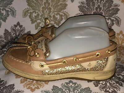 Sperry Top Sider Angelfish Linen Gold Glitter Shoes Size 7