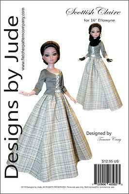 Outlander Scottish Claire Dress Doll Clothes Sewing Pattern Ellowyne Tonner