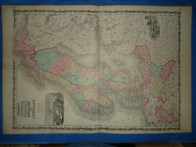 Vintage 1862 NORWAY SWEDEN DENMARK Map ~ Old Antique Original Johnson's Atlas