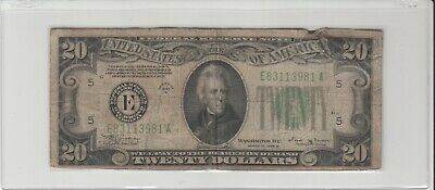 1934B (E) $20 Twenty Dollar Bill Federal Reserve Note Richmond Old Currency