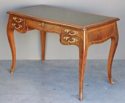 Antique French Louis rococo writing desk bronze leather inlaid marquetry Bureau