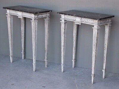 Antique pair console hall tables marble bedside carved French Provincial painted