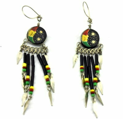 Native American stars & moon Dreamchaser Feather Tassel Dangle Earrings
