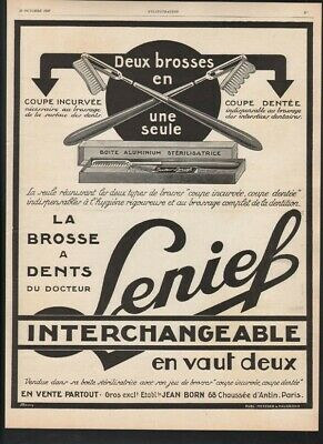 1927 Lenief Tooth Brush Interchangeable Dental Hygiene Tin Box Sterile 21481