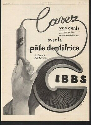 1925 Gibbs Dental Cream Brush Hygiene Health Tube Paste Tooth Erel Paris  21594