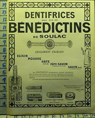 1921 Benedictins French Dental Hygiene Dentist Teeth Brush Health   X62