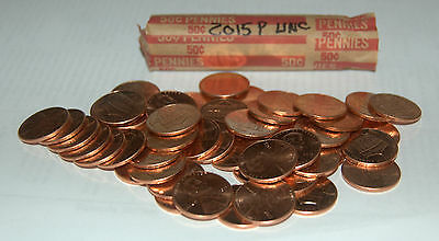 One Roll 50 Coins 2015 P Lincoln Shield Cent Uncirculated Condition UNC