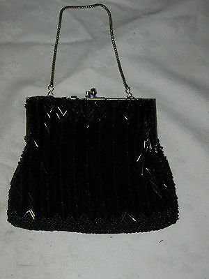 Vintage Ladies Black Glass Noodle & Ball Beaded Gold Plated Frame Evening Purse