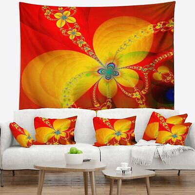 Designart 'Red Yellow Colorful Fractal Pattern' Floral Wall Tapestry