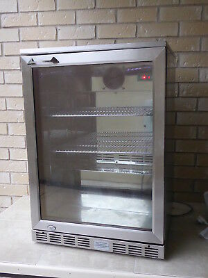 Bar Fridge 140 Ltr Stainless & Glass Door Led Lights Digital Control Euro Grand