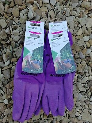Verve Ladies All Purpose garden Gloves, Medium size 8 Job Lot x 4 pairs Purple