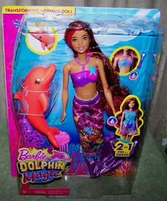 "Barbie Dolphin Magic Snorkel Fun Friends Playset 11"" Doll New"