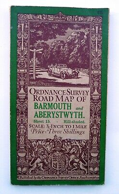 1913 Ordnance Survey Road Map Of Barmouth And Aberystwyth - 1/2 Inch To 1 Mile