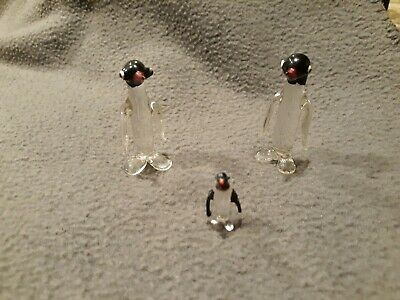 Hand Blown Vintage Glass Penguin Family Set of 3 Hand Painted